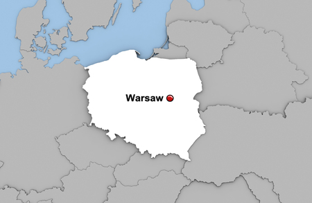 Abstract 3d render of map of Poland highlighted in white color and location of the capital Warsaw marked with red pin