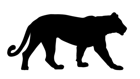 Abstract vector illustration of a lioness silhouette Çizim