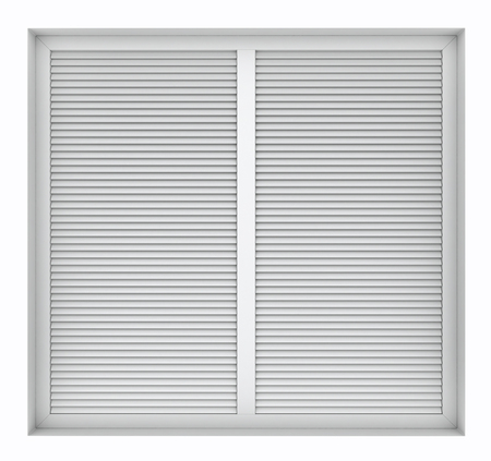 3d Render Of Plastic Window Frame With External Blinds Isolated ...