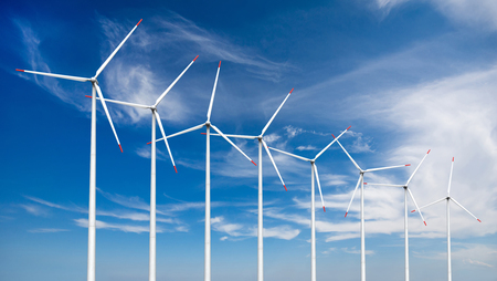 3d render of wind turbines on sky background