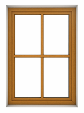 3d render of wooden window frame isolated on white background