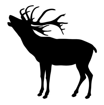 Vector illustration of deer silhouette on white background Vettoriali