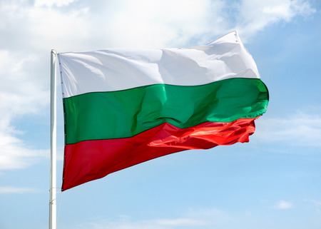 Waving Bulgarian flag on skyscape background