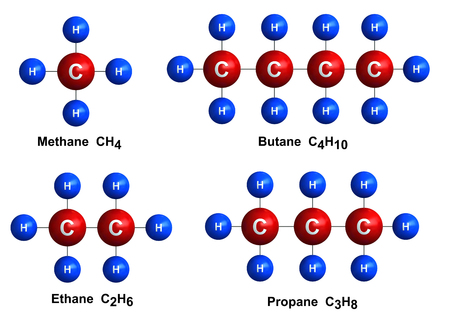 3d render of molecular structure of methane, butane, ethane and propane isolated over white background