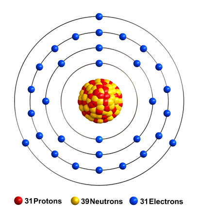 3d render of atom structure of gallium isolated over white background Protons are represented as red spheres, neutron as yellow spheres, electrons as blue spheres Stock Photo