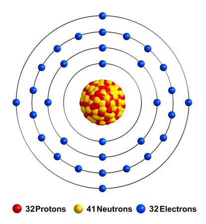3d render of atom structure of germanium isolated over white background Protons are represented as red spheres, neutron as yellow spheres, electrons as blue spheres