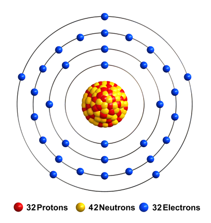 3d render of atom structure of arsenic isolated over white background Protons are represented as red spheres, neutron as yellow spheres, electrons as blue spheres
