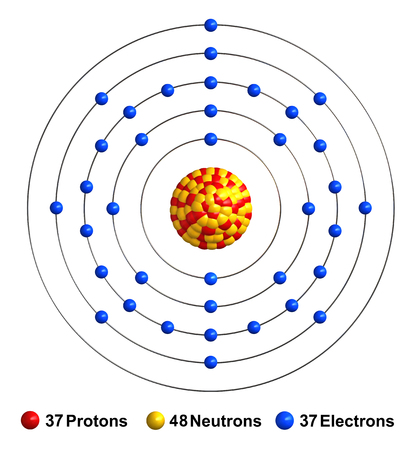3d render of atom structure of rubidium isolated over white background Protons are represented as red spheres, neutron as yellow spheres, electrons as blue spheres
