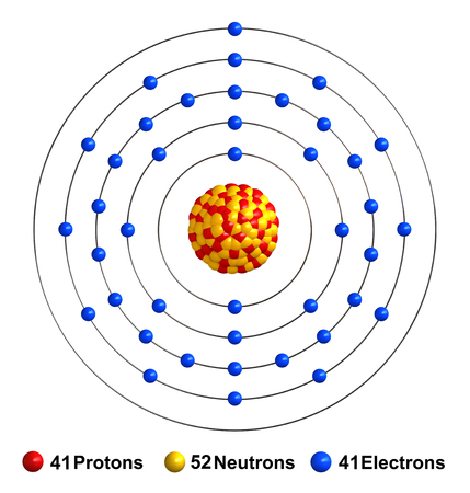 3d render of atom structure of niobium isolated over white background Protons are represented as red spheres, neutron as yellow spheres, electrons as blue spheres