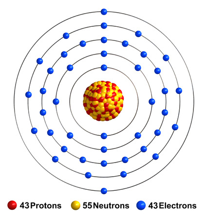 3d render of atom structure of technetium isolated over white background Protons are represented as red spheres, neutron as yellow spheres, electrons as blue spheres