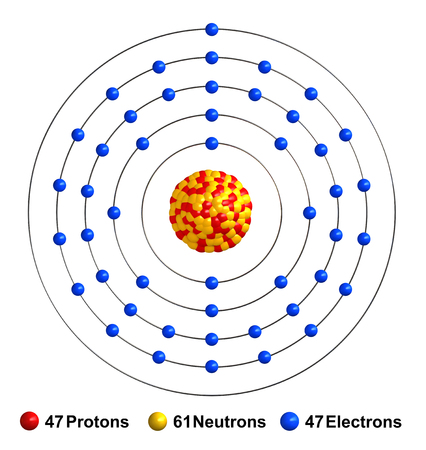 3d render of atom structure of silver isolated over white background Protons are represented as red spheres, neutron as yellow spheres, electrons as blue spheres