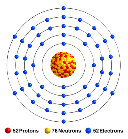 3d render of atom structure of tellurium isolated over white background Protons are represented as red spheres, neutron as yellow spheres, electrons as blue spheres