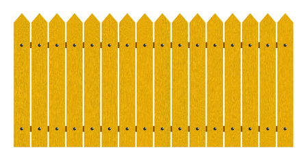 3d rendering of painted yellow fence isolated over white background