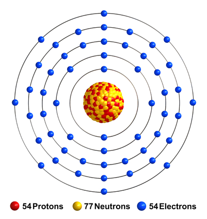 3d render of atom structure of xenon isolated over white background Protons are represented as red spheres, neutron as yellow spheres, electrons as blue spheres