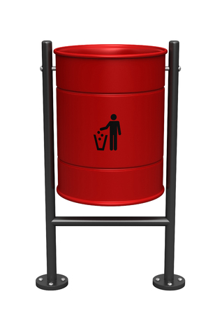3d render of red dustbin isolated over white background Stock Photo