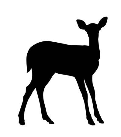 Ilustración de vector de silueta de ciervo bebé Ilustración de vector