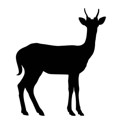 Vector illustration of deer side silhouette Stock Illustratie