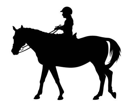 Vector illustration of horse and child rider silhouettes