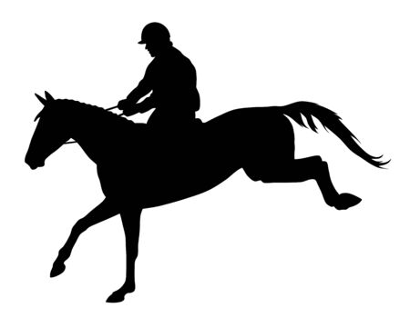 Vector illustration of horse and rider silhouettes Reklamní fotografie - 132017842