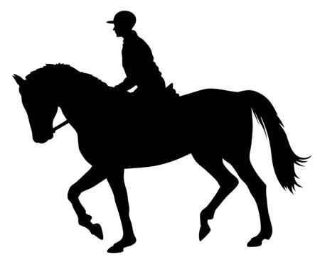 Vector illustration of horse and rider silhouettes