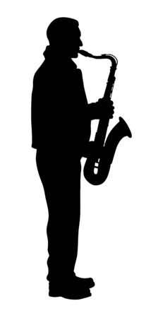 Vector illustration of saxophone player silhouette