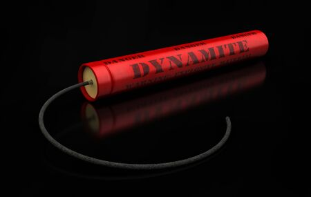 3d render of dynamite sticks with wick on black background