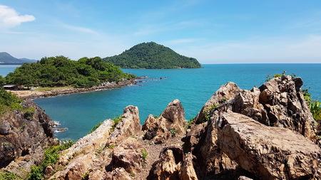 road bike: Beautiful Sea-view from Noen-nangphaya view point at Chanthaburi, Thailand
