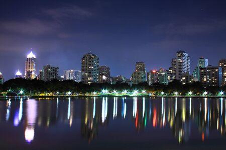 bangkok city: Bangkok downtown at night, Thailand
