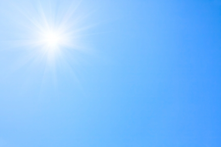 clear blue sky: Shining sun at clear blue sky   Stock Photo