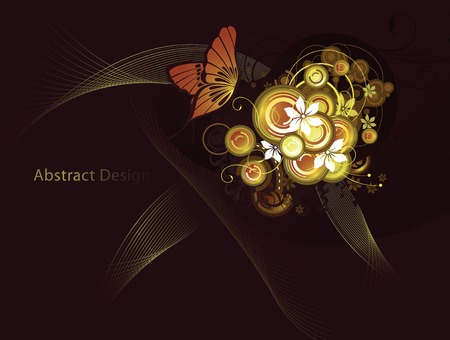 abstract floral background with butterfly Vector