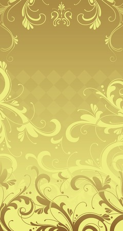 postcard background: gold floral background