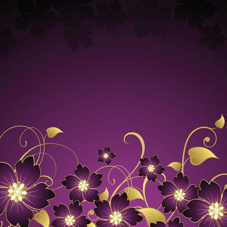 purple flowers background Vector