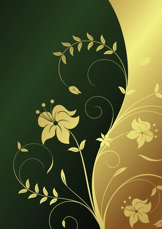 gold textured background: Floral Abstract