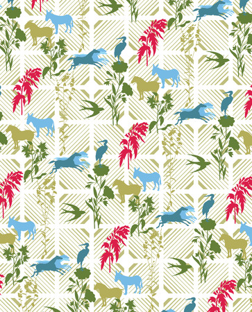Animal Silhouette and Floral Pattern Vector