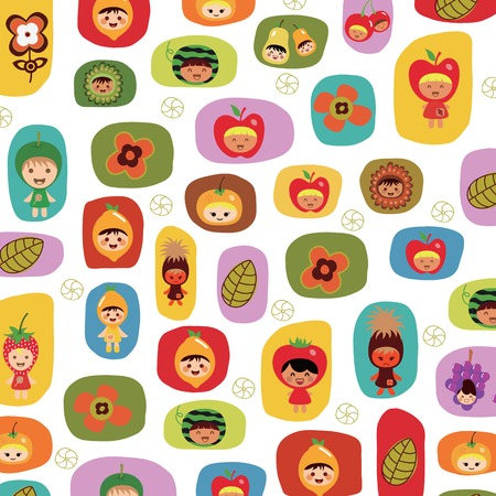 Children and Fruits Vector