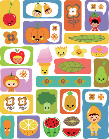 Food Fruits Vegetable 1-3 Vector