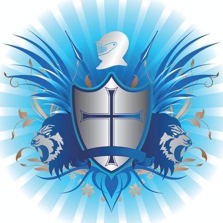 cross and wings: Escudo de Armas con le�n Vectores