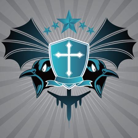cross and wings: Escudo de Armas con Crow