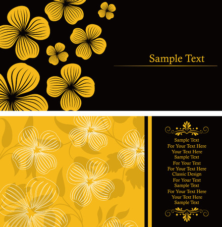 Yellow Flower Invitation Card Vector