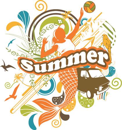 Summer Beach Girl Illustration