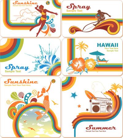 chica surf: Fondos para vacaciones de verano Vectores