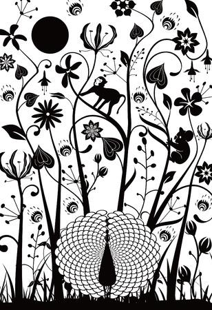 silueta mono: Resumen floral Vectores
