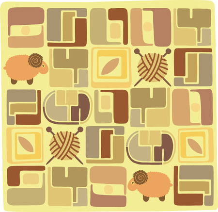 Sheep and Wool Pattern Vector