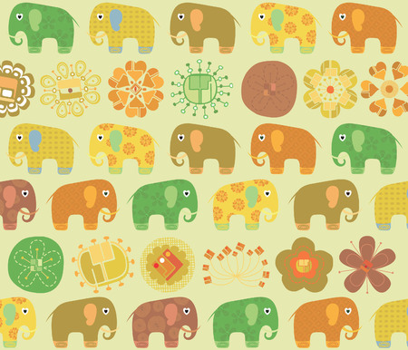 Abstract Floral Elephant Pattern Stock Vector - 5260418