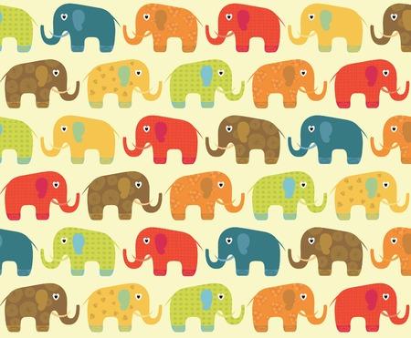 elephant cartoon: Abstract Floral Pattern Elephant Vettoriali