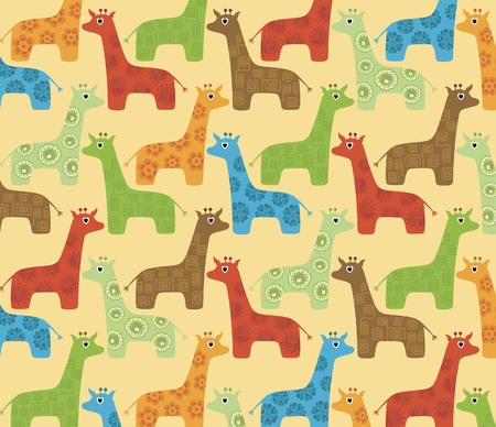 Abstract Floral Giraffe Pattern Vector