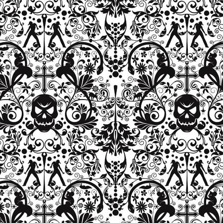 cross bones: Resumen Floral Skull Pattern Vectores
