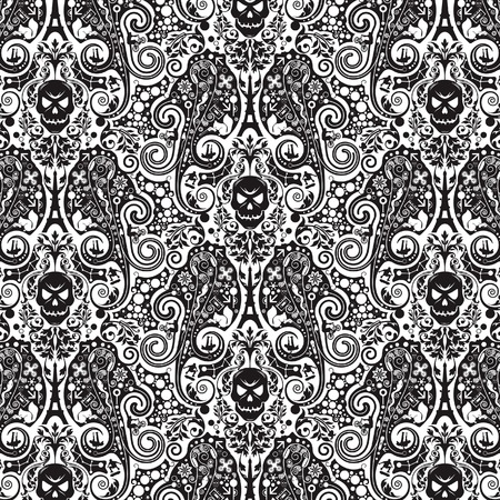 skateboarding: Abstract Floral Skull Pattern Illustration