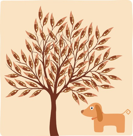 Abstract Tree and Dog in Forest Vector