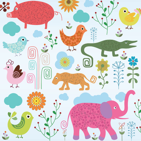 Wild Animals in Forest Stock Vector - 5299613